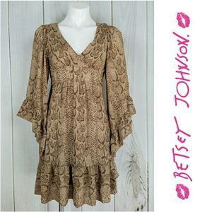 Betsey Johnson Boho Brown Snakeskin Bell Sleeve
